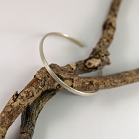 Silver Cuff, Open Bangle with Line Hammered Textured Bracelet