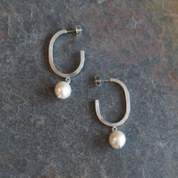 Freshwater Pearl Earrings, minimalist sterling silver drop earrings, jewellery