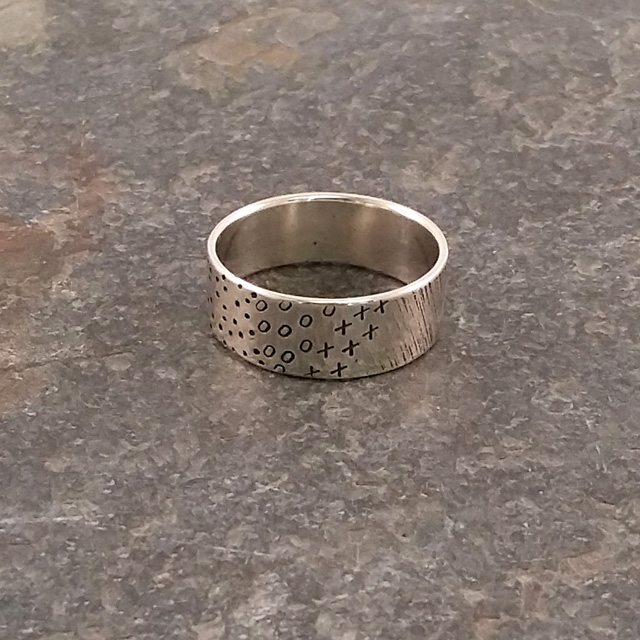 Patterned Silver Ring, Hand-Stamped Sterling Silver Band Rings