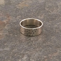 Patterned Silver Ring, Decorative Eco Silver Band Rings