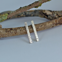 Silver Birch Bar Stud Earrings, inspired by nature