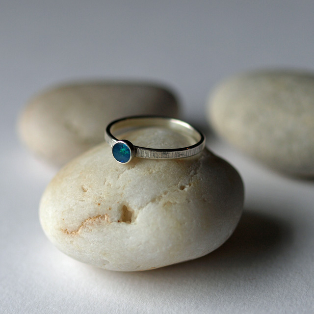 Opal Ring - Sterling Silver Line Patterned Rings