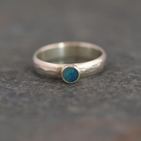 Opal Ring - Hammered Sterling Silver Rings
