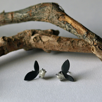 Diamond Leaf Stud Earrings, Oxidised Sterling Silver Studs, nature inspired