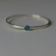 Opal Cuff Bracelet, Sterling Silver Gemstone Open Bangle Bracelets