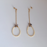 Pearl Dangle Hoop Drop Earrings with Iolite and Gold Fill