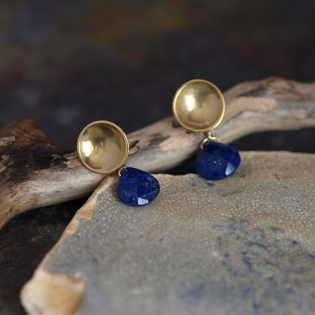 Lapis Lazuli Brass Drop Earrings