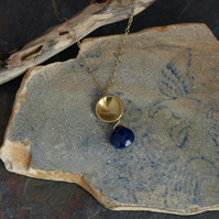 Lapis Lazuli Brass Dome Pendant Necklace with Gold fill Chain