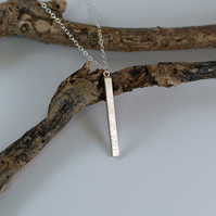 Textured Bar Pendant Necklace, handmade sterling silver reversable necklace