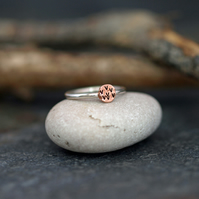 Copper Circle Silver Ring, Stacking Sterling Silver Mixed Metal Rings