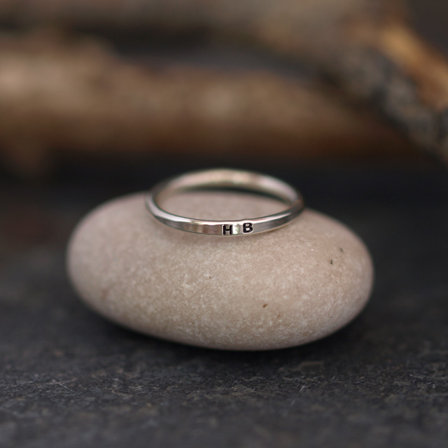 Silver Initial Ring, Personalised Skinny Dainty Rings