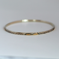 Seashore Sterling Silver and Gold Bracelet Bangle with Patterned Texture