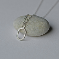 Silver Pendant Necklace, Small Oval Pendants