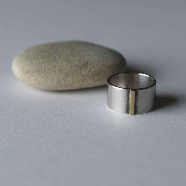 Silver and Brass Wide Band Ring