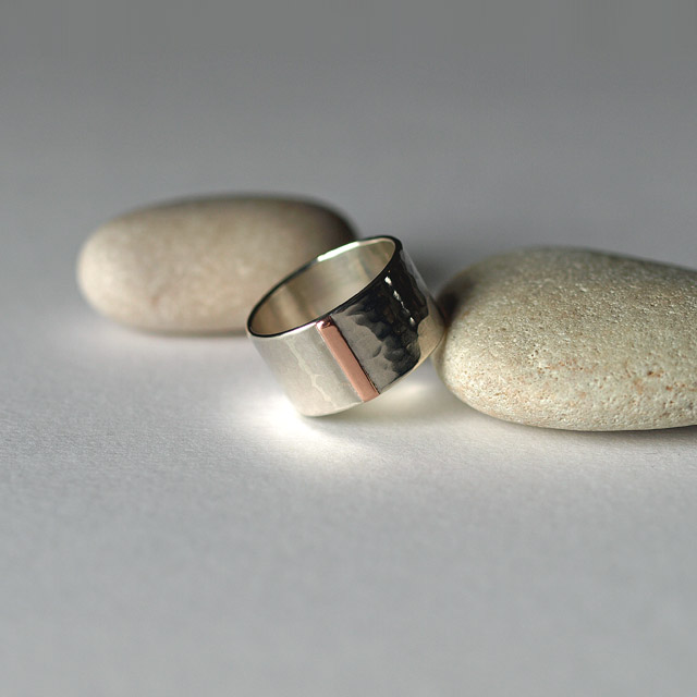 Wide Silver Ring with Copper Line Detail and Hammered Texture