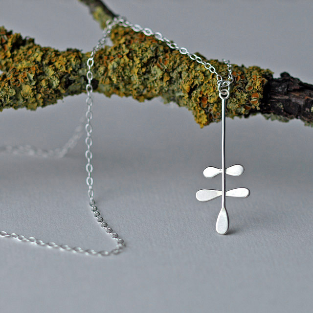 Silver Fern Pendant Necklace, Nature Inspired Leaf Jewellery