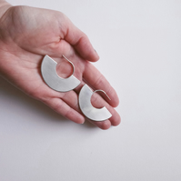 Large Semi Circle Silver Earrings, Minimalist Geometric Statement Jewellery