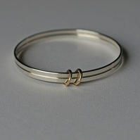 Double Bangles with Gold Rings, Two Silver Bracelets, Special Occasion Jewellery