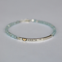 Silver Bar Bracelet with Gold Heart, Personalised Message and Aquamarine Beads