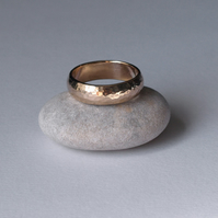 Yellow Gold Wedding Ring, D Wire Shaped 6mm Wide Band, Hammered Texture