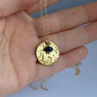 Golden Full Moon Pendant Necklace with Sapphire, Luna Astonomy, Gemstone