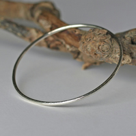 Recycled Silver Bangle with Hammered Texture, Stacking Bangles