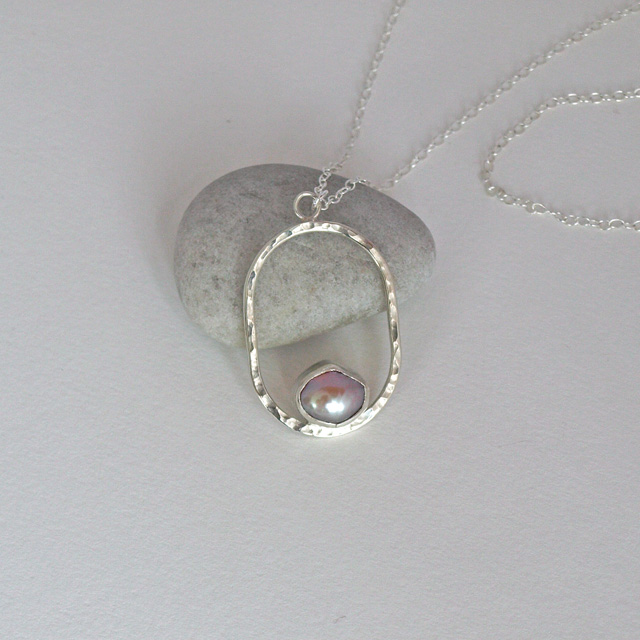 Pink Pearl Pendant Necklace, Hammered Sterling Silver