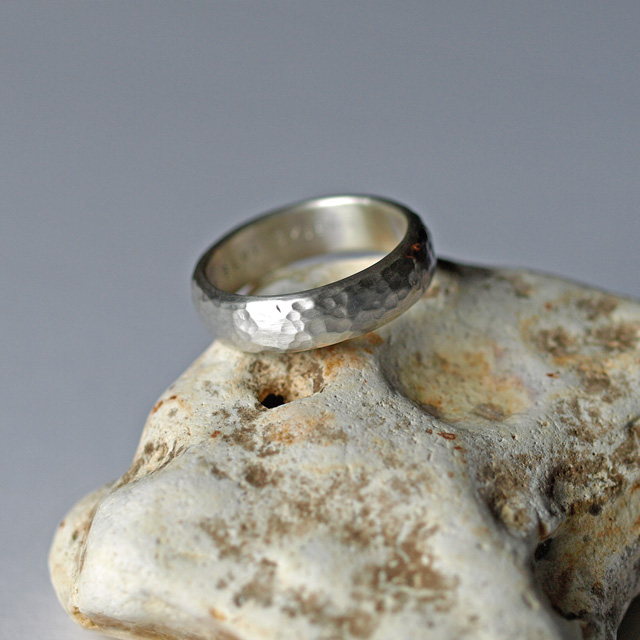6mm Wide D Shaped Ring Band with Hammered Brushed Texture