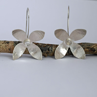 Moonstone Silver Flower Earrings