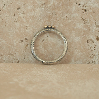 Moon Textured Silver Ring With Gold Dots