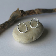 Textured Oval Stud Earrings, Sterling Silver, Line Detail