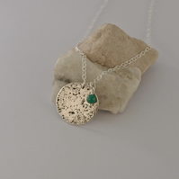 Silver Full Moon Pendant Necklace with Turquoise