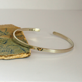 Sterling Silver Cuff Bracelet With 9ct Yellow Gold Heart