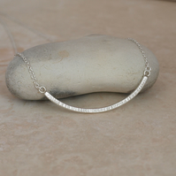 Line Detail Curved Bar Necklace, Handmade Sterling Silver