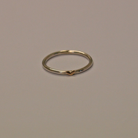 Dainty Gold Heart Ring with 1.5mm Sterling Silver Band