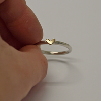 Heart Ring, Sterling Silver and 9ct Yellow Gold