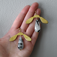 Brass Sycamore Earrings with Tourmalinated Quartz