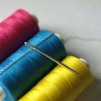 Sewing Needle Pendant Necklace - Sterling Silver