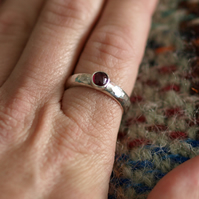 Garnet Ring with Hammered Sterling Silver Band