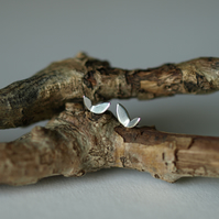 Small Leaf Studs, Sterling Silver Earrings