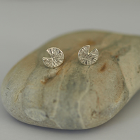 Water Lily Pad Sterling Silver Stud Earrings