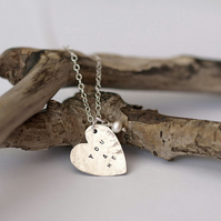 Personalised Silver Heart Necklace with Pearl Pendant Necklace