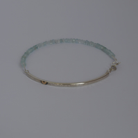 Sterling Silver Bar Bracelet with Aquamarine and Gold Heart