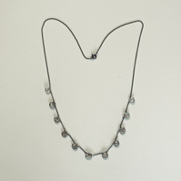 Tourmalinated Quartz and Oxidised Sterling Silver Necklace