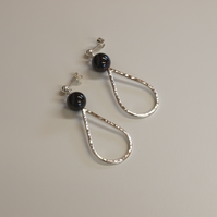 Garnet and Teardrop Earrings, Handmade Sterling Silver