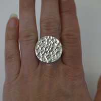 Hammered Recycled Silver Disc Ring