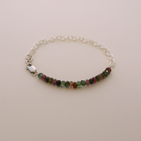 Tourmaline Beaded Sterling Silver Bracelet
