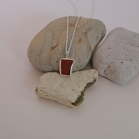 Red Jasper Sterling Silver Pendant Necklace