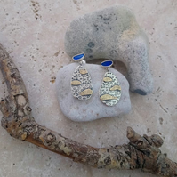 Seashore Pendant Earrings, Sterling Silver, 9ct Gold and Opal