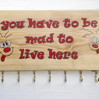 Recycled wood Key Holder Mad to Live Here Jewelry Hanger plaque